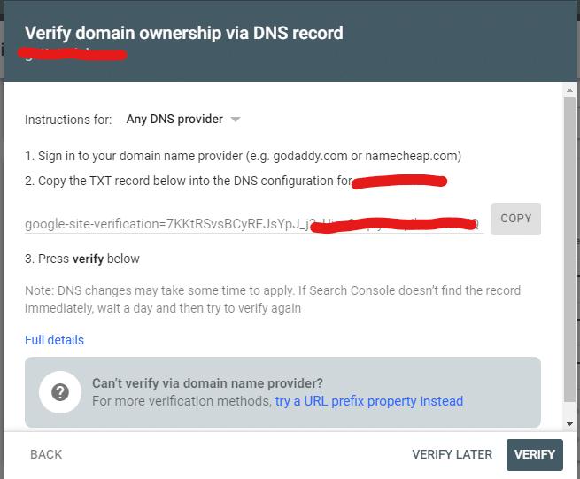 DNS Verification Google Search Console