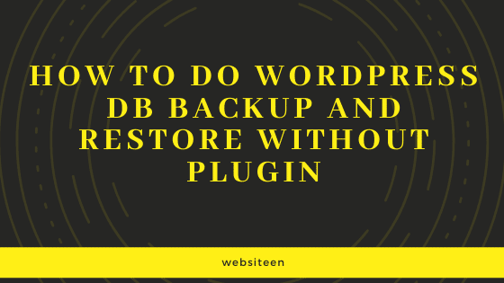 wordpress db backup and restore
